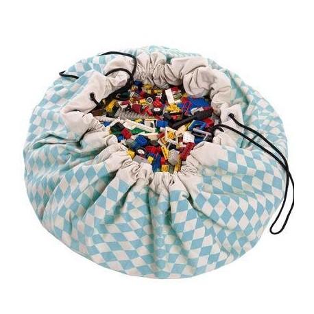 Medžiaginis kilimėlis-krepšys (žydras)