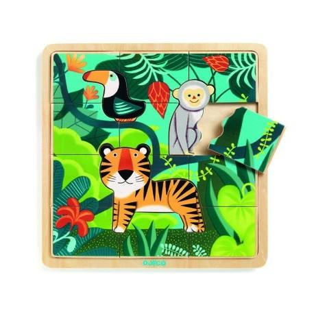 Medinė dėlionė - Džiunglės (15 vnt.)